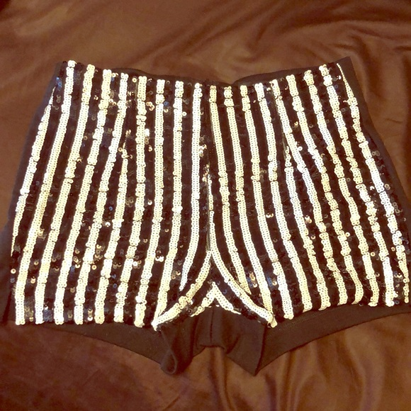 Forever 21 Pants - Black & White sequined shorts